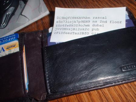 Wallet with password cheatsheet
